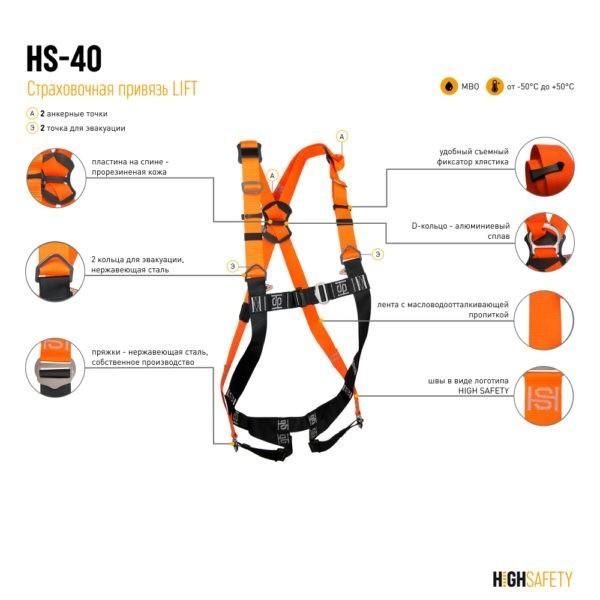 Страховочная привязь HS-40 LIFT | Официальный дилер Высота СЗ
