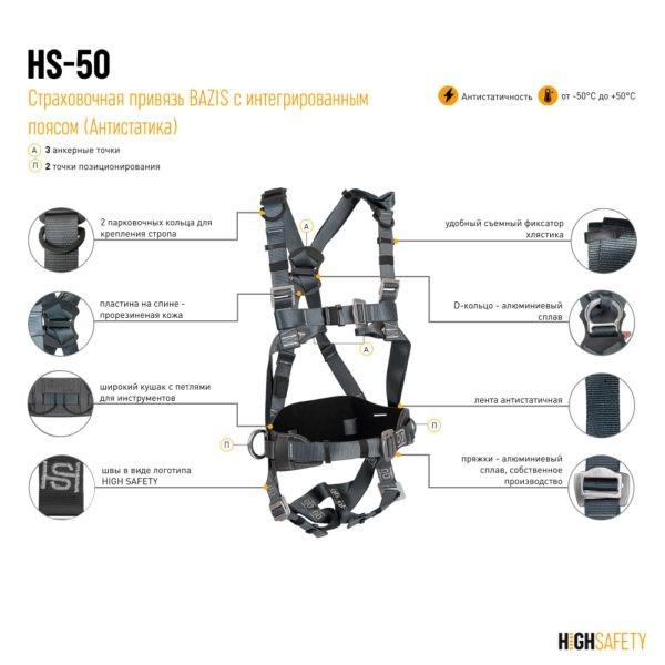 Антистатичная страховочная привязь HS-50Аnt   Официальный дилер Высота СЗ