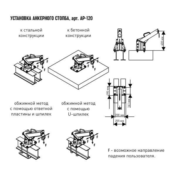 Анкерный столб AP-120. Монтаж | Анкерные столбы High Safety | Высота СЗ | Картинка 2