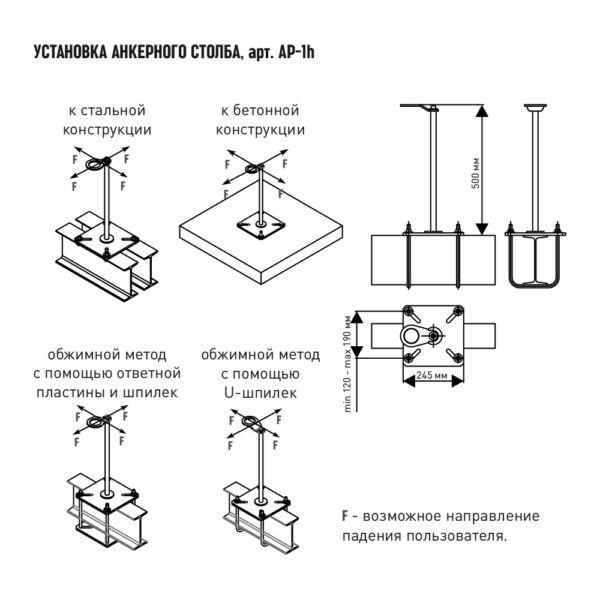 Анкерный столб AP-1H. Монтаж | Анкерные столбы High Safety | Высота СЗ | Картинка 2